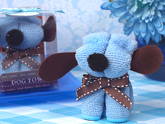CLEARANCE Adorable Blue Puppy Dog Towel Favors baby shower favors