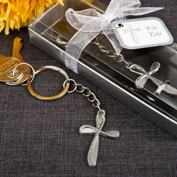 Metal Cross Key Chain With Beaded Design200  Weddings