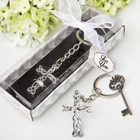 Delicate Intertwined metal cross key chain baby shower favors