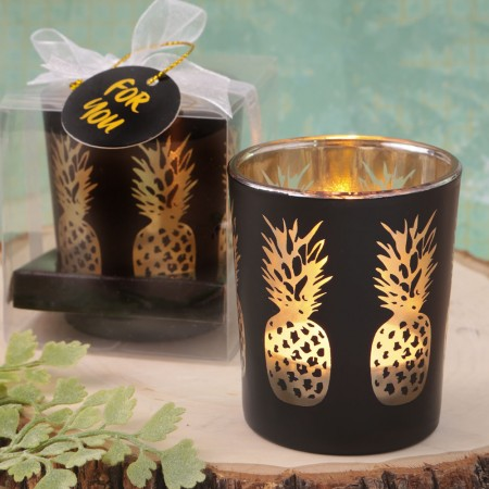 CLEARANCE BLACK GLASS CANDLE HOLDER SHIMMERING GOLD PINEAPPLESwholesale/6173lg.jpg Wedding Supplies