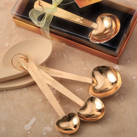LOVE BEYOND MEASURE SET OF 3 GOLD STAINLESS STEEL HEART SHAPED MEASURING SPOONS  Weddings