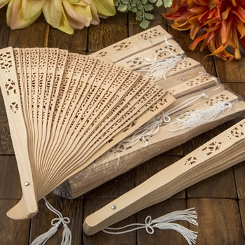 Intricately Carved Sandalwood Fan Favors SET OF 10200  Weddings