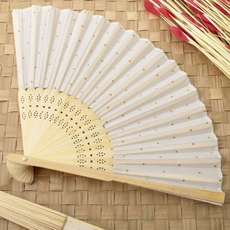Gold dot silk folding fan favor200  Weddings