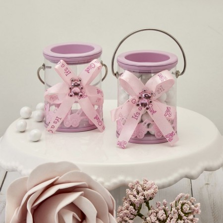 It's a Girl PINK DECORATED PAINT CANwholesale/6222lg.jpg Wedding Supplies