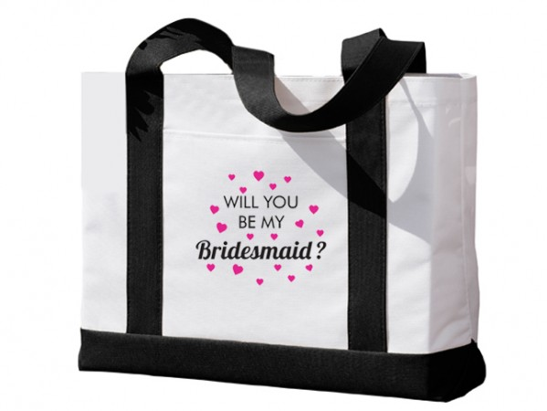 Black and White Tote Bag Gift with Will You Be My Bridesmaid Hearts Design  Weddings