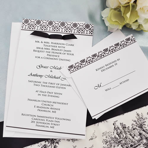 CLEARANCE Black and White Damask Invitations Kitwholesale/73581.jpg Wedding Supplies