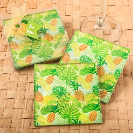 SET OF 2 TROPICAL PINEAPPLE THEMED GLASS COASTERS  Weddings