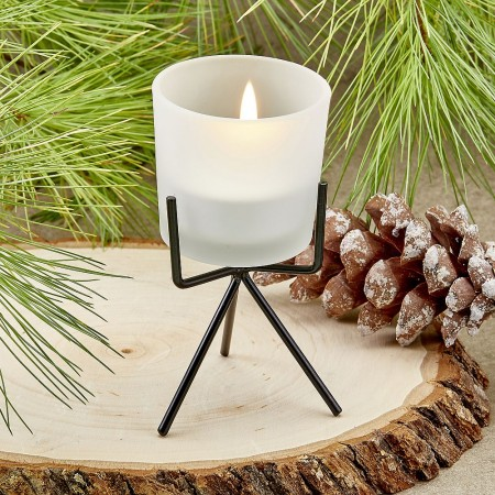 FROSTED GLASS CANDLE WITH METAL BASEwholesale/7858lg.jpg Wedding Supplies