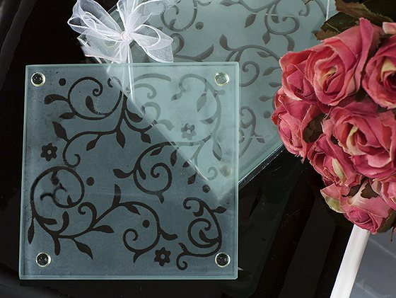 CLEARANCE Frosted Elegance Damask Design Coaster Favor200  Weddings