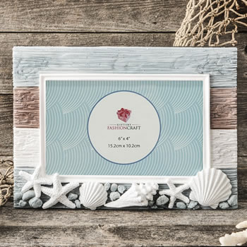 Charming Beach Horizontal 6 X 4 Frame With Shellswholesale/88009.jpg Wedding Supplies