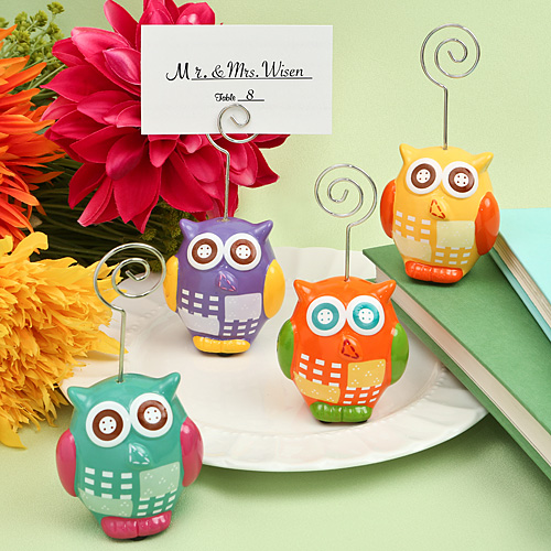 Hand Painted Ceramic Owl Design Place Card - Photo Holderswholesale/8827lg.jpg Wedding Supplies