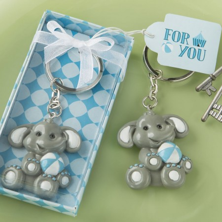 ADORABLE BABY ELEPHANT WITH BLUE DESIGN KEY CHAIN baby shower favors