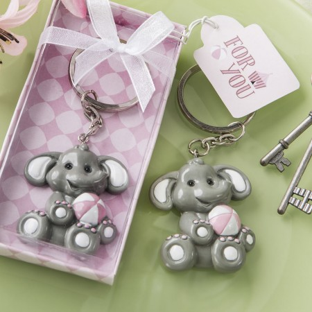 ADORABLE BABY ELEPHANT WITH PINK DESIGN KEY CHAIN baby shower favors