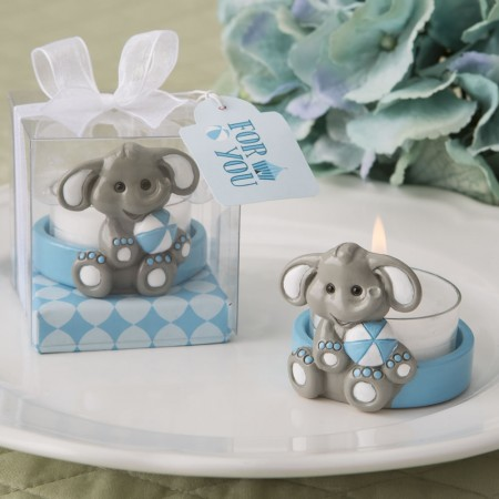 baby elephant with blue design tea light holder baby shower favors
