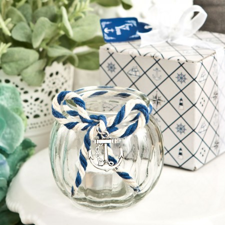 Anchor Nautical Themed clear glass round globe candle holder  Weddings