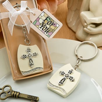 CLEARANCE Beautiful Cross Themed Plaque Key Chain baby shower favors