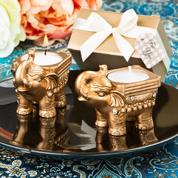 Gold Good Luck Indian Elephant Candle Holder200  Weddings