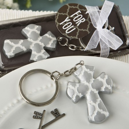 Silver Cross key chain with a Hampton link designwholesale/8981lg.jpg Wedding Supplies