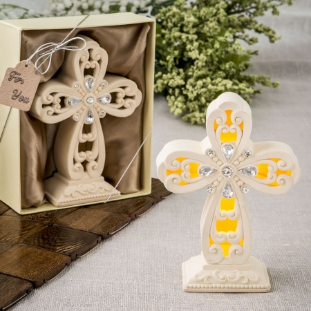 Glowing Ivory color standing cross statue with Led Lightwholesale/8984lg.jpg Wedding Supplies