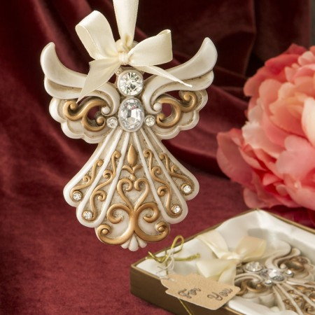 Antique Ivory Angel Ornament Matte Gold Filigree  Weddings