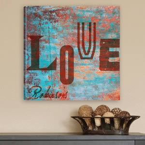 "Personalized 14"" x 14"" Canvas - Watercolor Love200  Weddings"