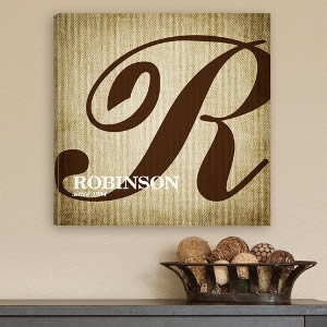 "Personalized 14"" x 14"" Canvas - Family Initial200  Weddings"
