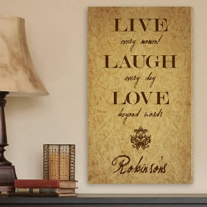 "Personalized 14"" x 24"" Canvas - Live Every Moment200  Weddings"