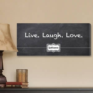 "Personalized 8"" x 18"" Canvas - 3Ls Blackboard200  Weddings"