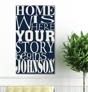 "Personalized Newlywed 18"" x 24"" Canvas - Where Our Story Begins  Weddings"