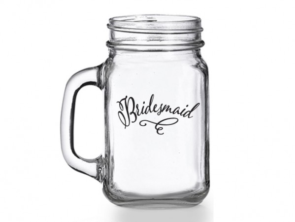 Classic Bridesmaid Mason Jar Glass gift200  Weddings
