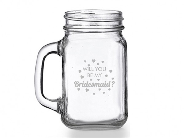 Will You Be My Bridesmaid Heart Mason Jar Mug  Weddings