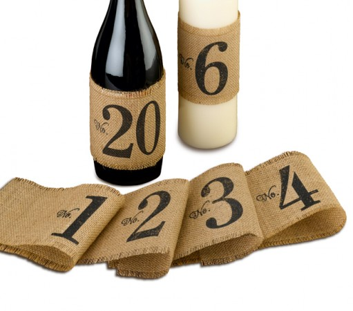 Burlap Table Number Wraps (numbers 1-20)  Weddings