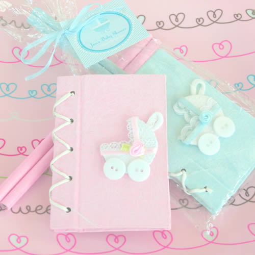 CLEARANCE Blue Baby Carriage Notebook Gift Set baby shower favors