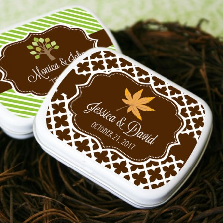 Fall for Love Personalized Mint Tins Favor  Weddings