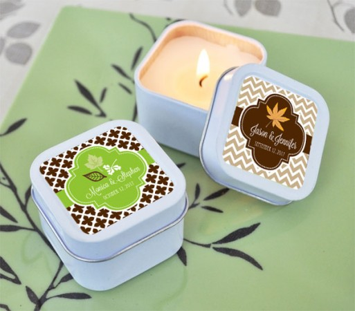 Fall for Love Personalized Square Candle Tins  Weddings