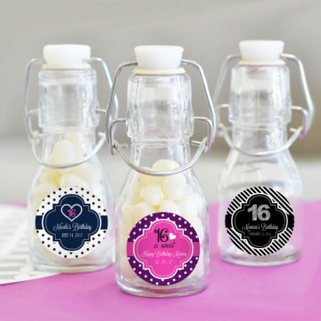 Sweet 16 or 15 Personalized Mini Glass Bottles200  Weddings
