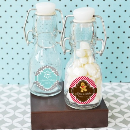 Winter Holiday Favors - Personalized Mini Glass Bottles  Weddings