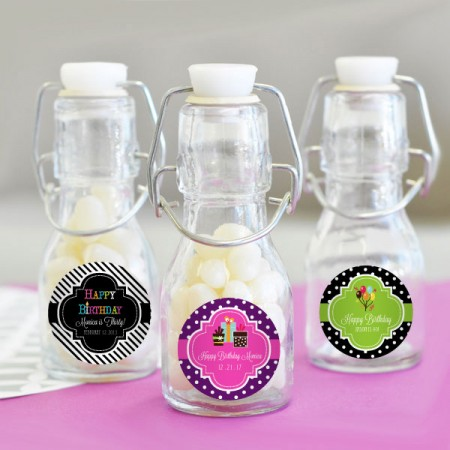 Personalized Birthday Mini Glass Bottles  - Custom Favors200  Weddings