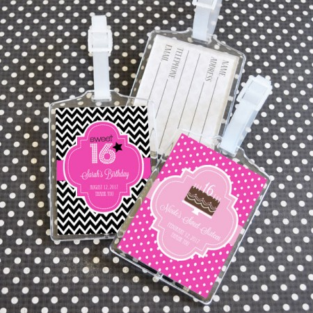 Sweet 16 or 15 Acrylic Luggage Tags  Weddings
