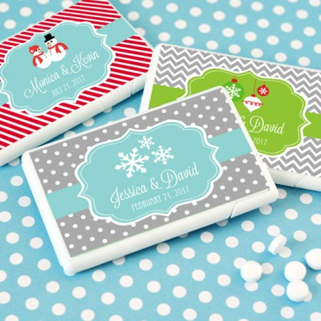 Personalized Winter Mini Mint Favors - Weddings or Holidays200  Weddings