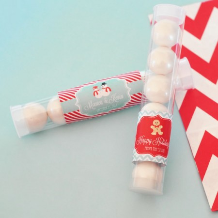 A Winter Holiday Personalized Candy Favor Tubes  - Wholesale  Weddings