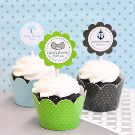 24 Baby Shower Cupcake Wrappers + Cupcake Toppers baby shower favors
