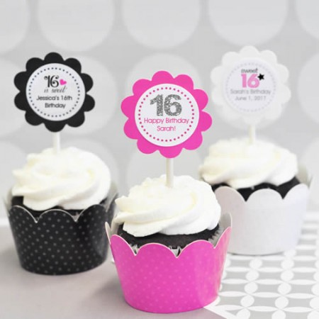 24 Sweet 16 or 15 Cupcake Wrappers + Cupcake Toppers  Weddings