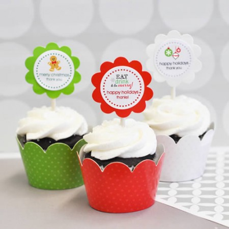 24 Winter Holiday Themed Cupcake Wrappers + Cupcake Topperswholesale/EB2305WZ_large1.jpg Wedding Supplies
