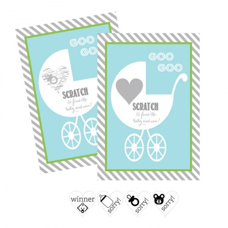 Blue Baby Carriage Scratch Off Game Cards (Set of 12) baby shower favors