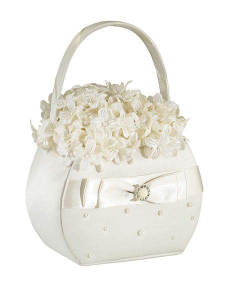 Ivory Pearl Flower Girl Basket144 Weddings