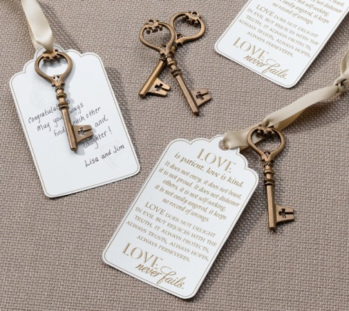 Christian Bronze Key Tags for Guest Signing  Weddings