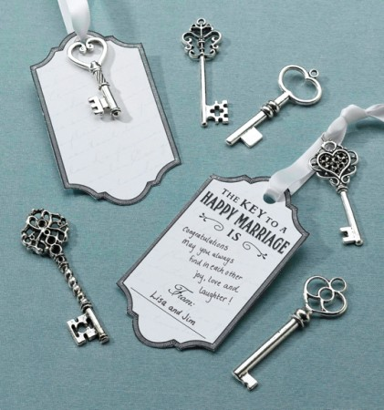 Silver Key Tag Set for Guest Signing  Weddings