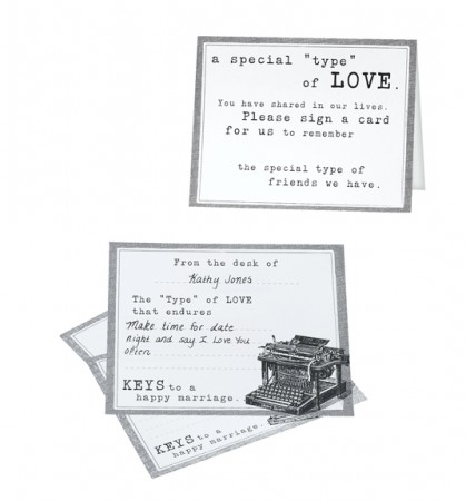 Typewriter Guest Cards- Set of 48200  Weddings