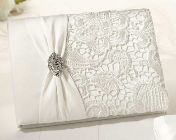 Vintage Cream Lace Guest Book & Pen Set200  Weddings